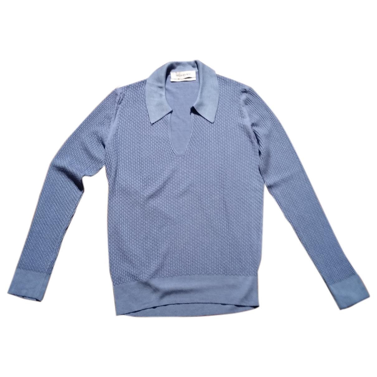 Yves Saint Laurent \N Pullover in  Blau Seide