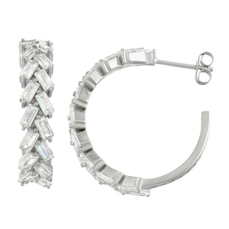 Lab Created White Sapphire Sterling Silver 25.3mm Hoop Earrings, One Size , No Color Family