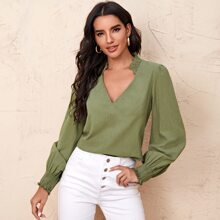 Frill Trim Shirred Solid Top