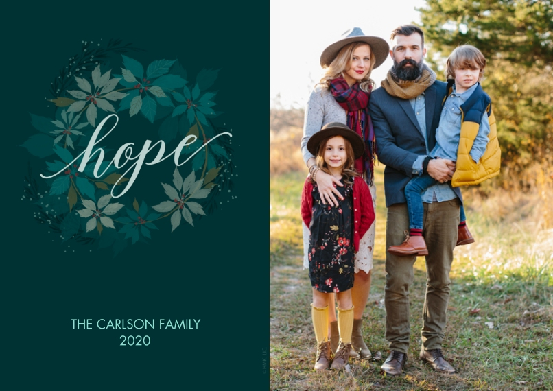 Christmas Photo Cards 5x7 Cards, Premium Cardstock 120lb with Rounded Corners, Card & Stationery -Hope & Wreath Christmas Photo Card by Hallmark