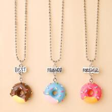 3 piezas collar colgante de donut