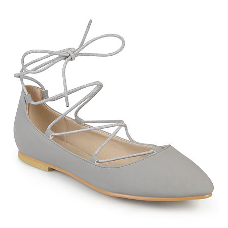 Journee Collection Womens Fiona Lace-Up Flats, 8 Medium, Gray