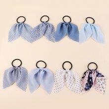 8pcs Gingham Pattern Bow Hair Tie