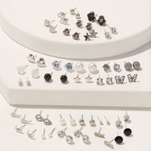 Pendientes con perla artificial y estrella 30 pares