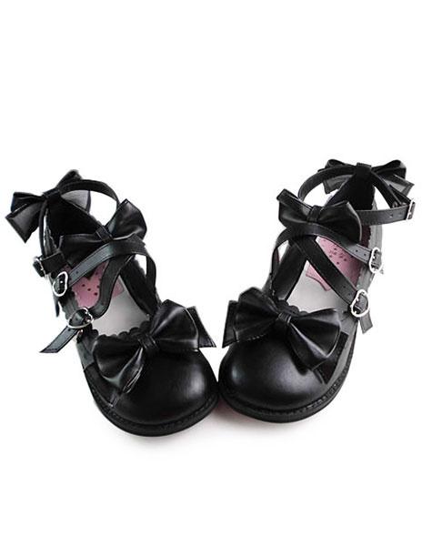 Milanoo Matte Black Lolita Shoes with Sweet Bows