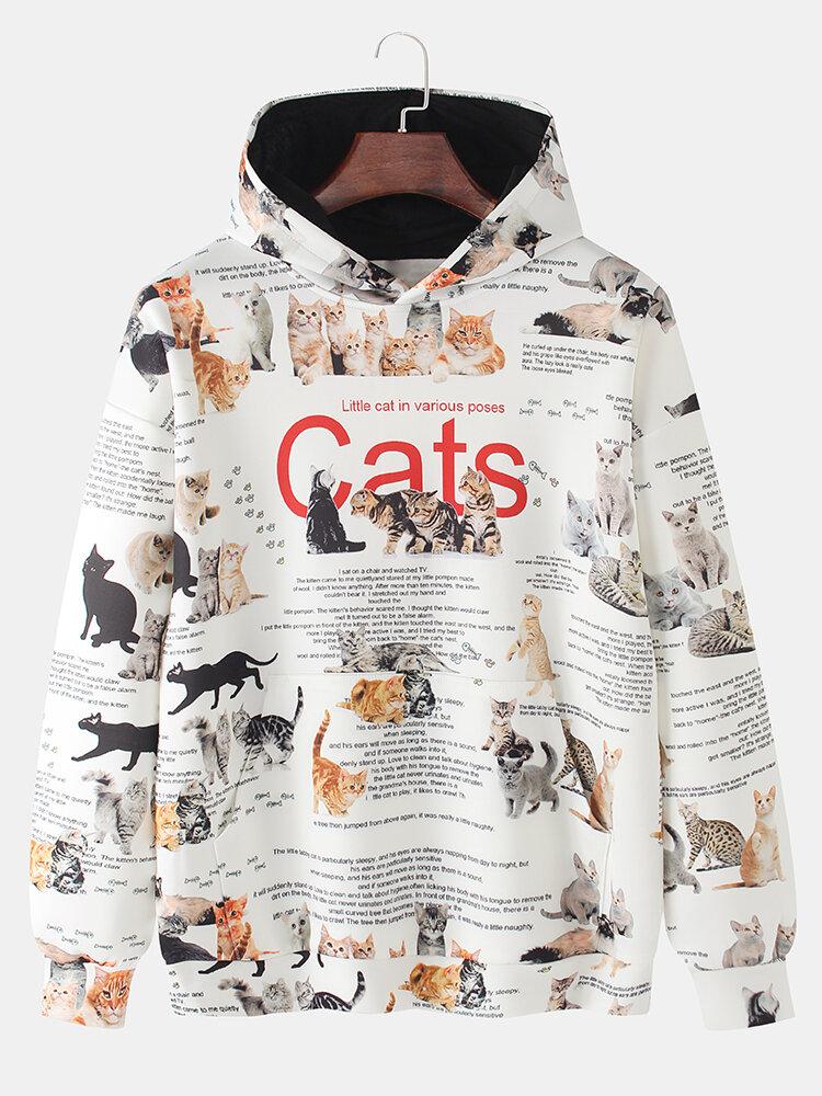 Mens Allover Cat Text Printing Casual Kangaroo Pocket Hoodies