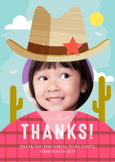 Kids Thank You Cards Flat Glossy Photo Paper Cards with Envelopes, 5x7, Card & Stationery -Howdy Celebration Thank You