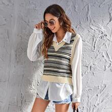 Pulloverweste mit Streifen Muster