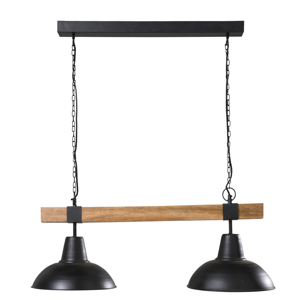 Doppel-Haengeleuchte aus schwarzem Metall und Mangoholz