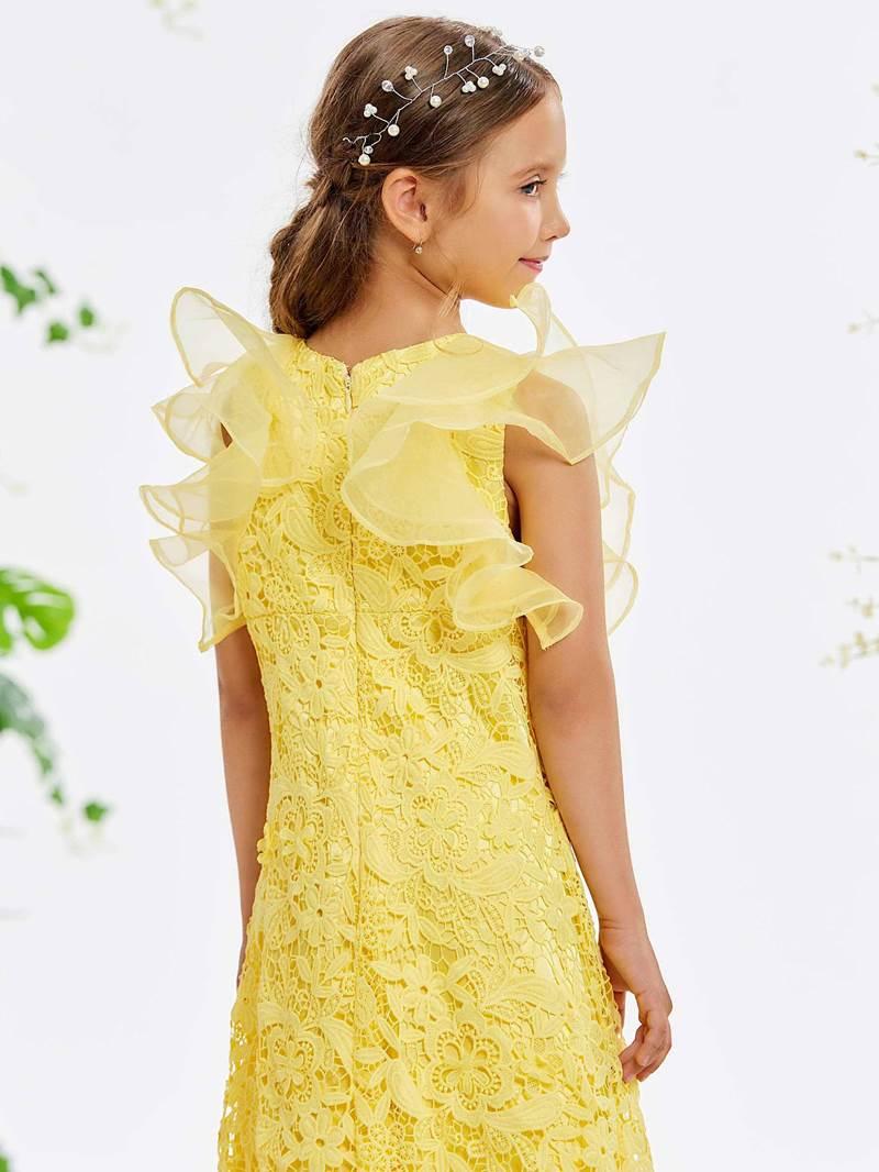 Ericdress Ruffles Sleeve Lace Tea-Length Girl's Party Dress