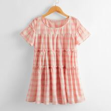 Girls Tartan Tiered Layer Frill Babydoll Dress