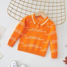 Pullover mit Buchstaben Grafik und Polo Kragen