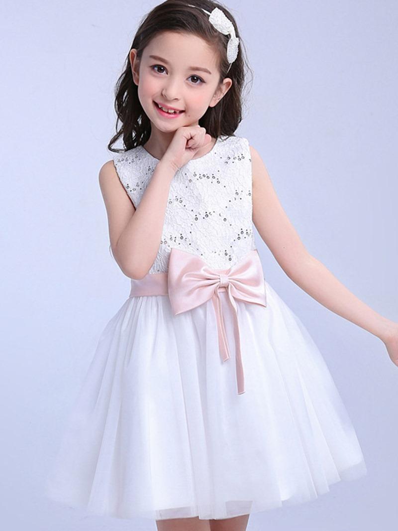 Ericdress Ladylike Hollow Pink Bowknot Girls Princess Dress