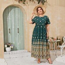 Plus Tribal Print Maxi Dress