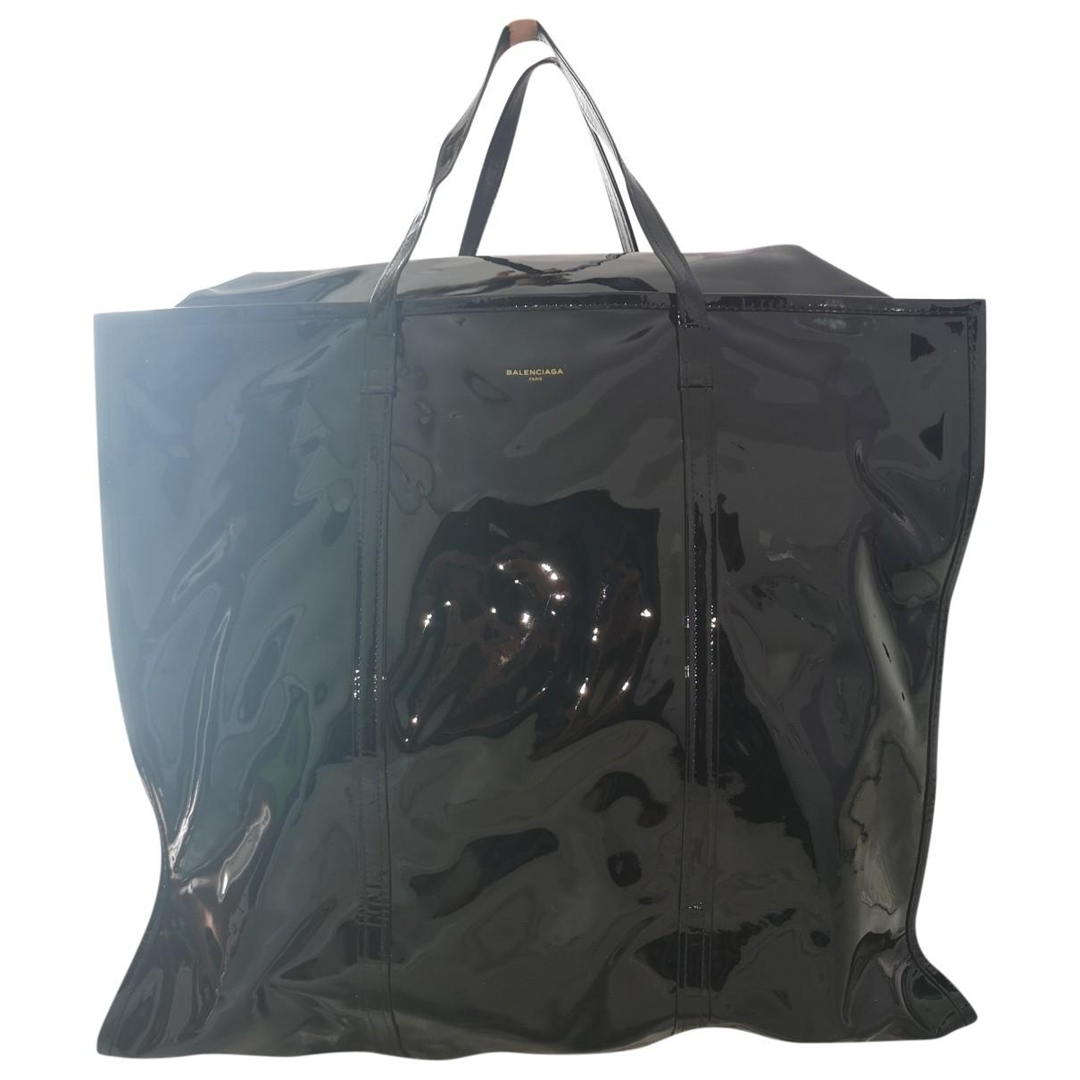Balenciaga - Sac a main Bazar Bag pour femme en cuir verni - noir