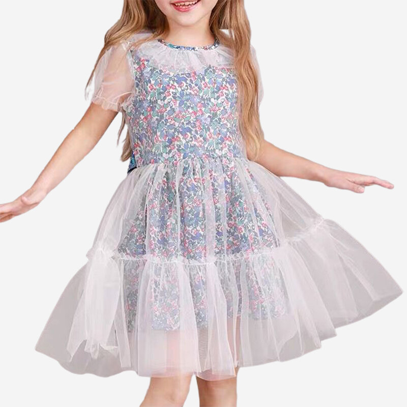 Girl's Tulle Spliced Floral Printed Princess Dress For 2-12Y