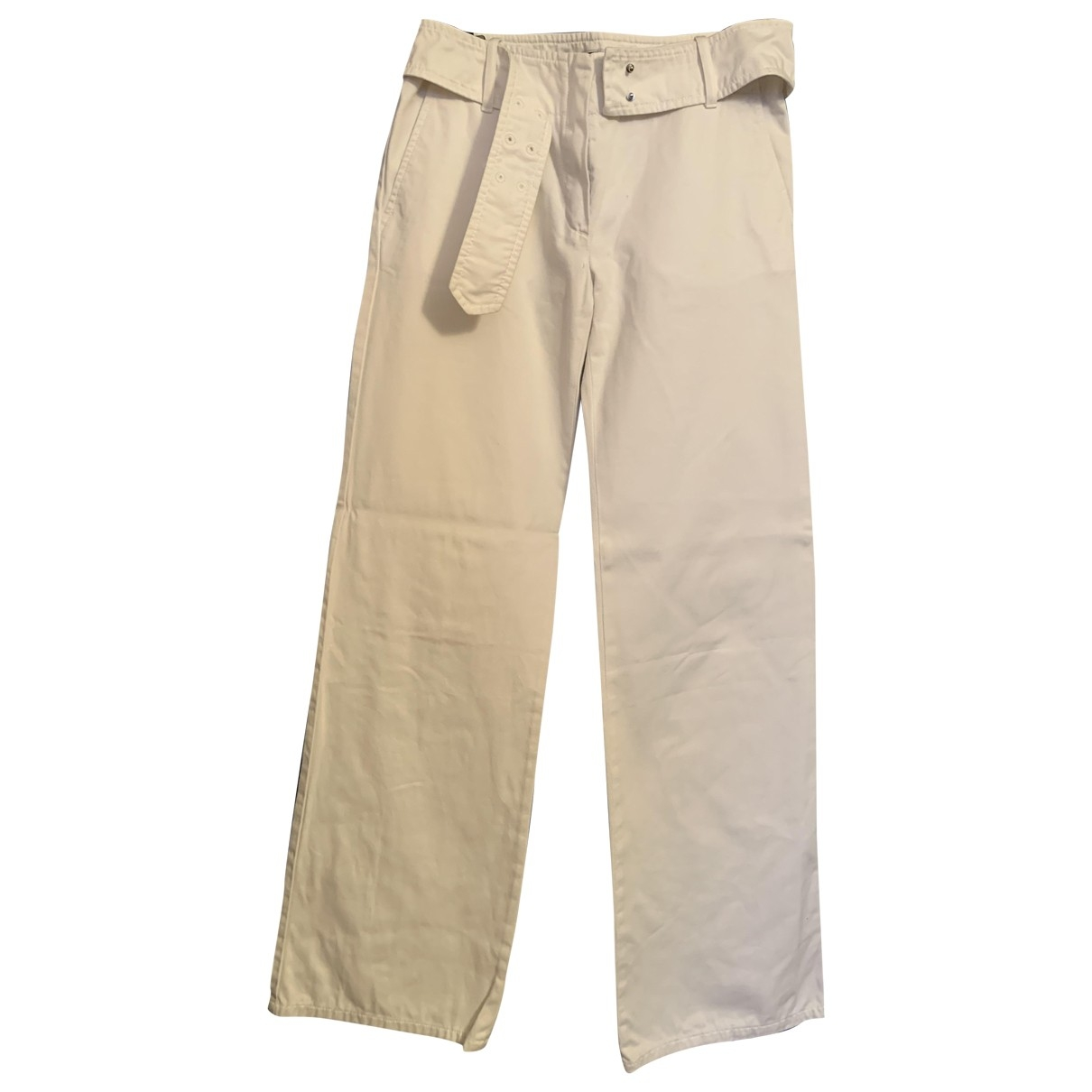 Sport Max \N White Cotton Trousers for Women 38 IT