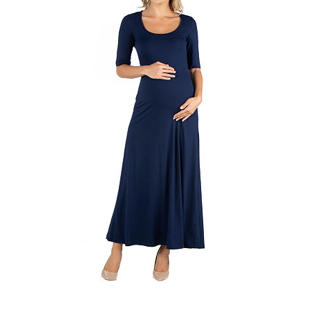 24/7 Comfort Apparel Casual Maxi Dress with Sleeves, Medium , Blue