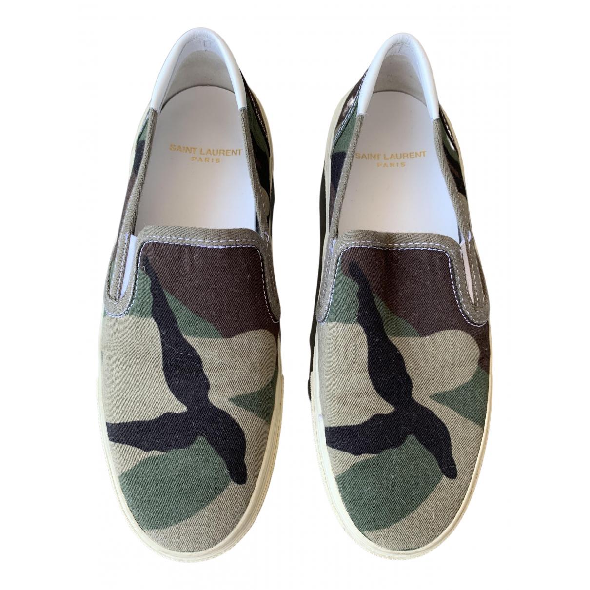 Saint Laurent \N Sneakers in  Khaki Leinen