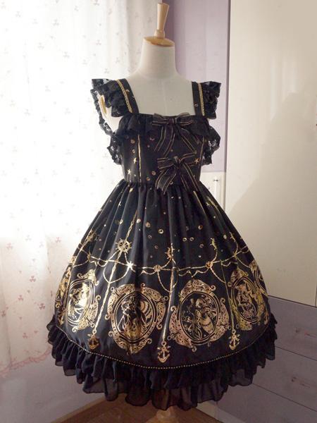 Milanoo Algodon dulce cintura alta arcos Lolita Jumper falda