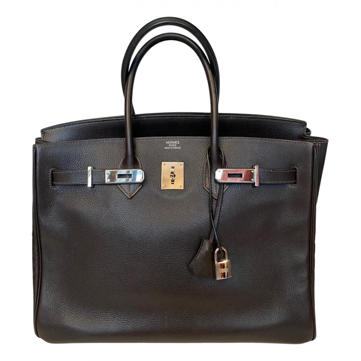 Herm�s Birkin 35 Brown Leather handbag for Women \N