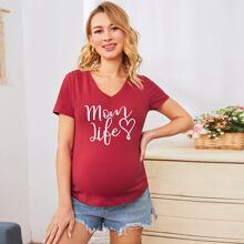 Maternity T-Shirt mit Herzen & Buchstaben Grafik