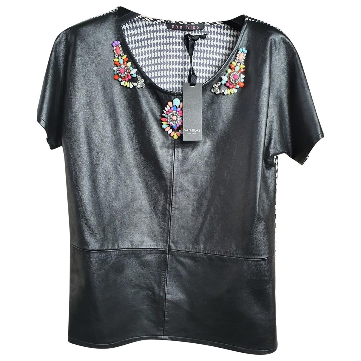 San Blas - Top   pour femme en cuir - noir