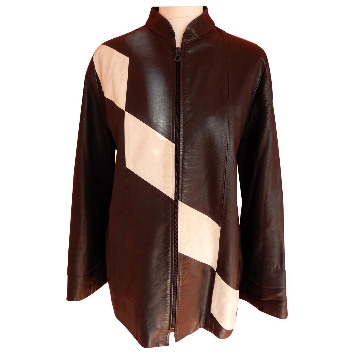 Guy Laroche \N Blue Leather jacket for Women 38 FR
