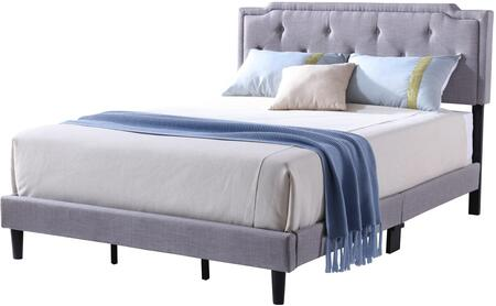 Deb Collection G1104-KB-UP King Size Bed with Tufted Headboard and Support Slats and Legs in Light Grey