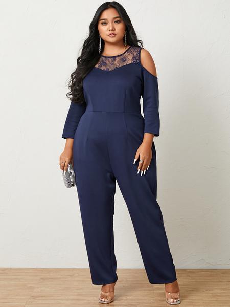 YOINS Plus Size Cold Shoulder Side Pockets 3/4 Length Sleeves Jumpsuit
