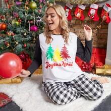 Schlafanzug Set mit Kontrast Ärmeln, Weihnachten und Karo Muster