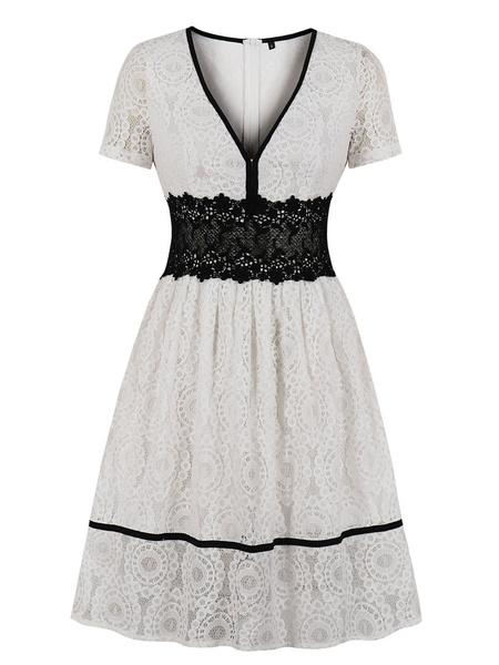 Milanoo Lace Vintage Dress 1950s White Short Sleeves V Neck Swing Dress