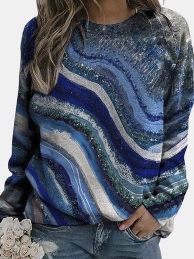 Landscape Print O-neck Plus Size Sweatshirt for Women