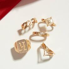 5pcs Star & Letter Decor Ring