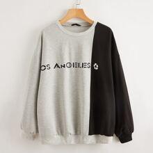 Pullover mit Buchstaben Grafik und Farbblock