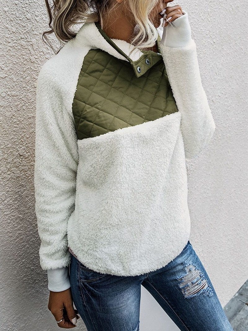 Ericdress Regular Color Block Patchwork Thick Long Sleeve Hoodie