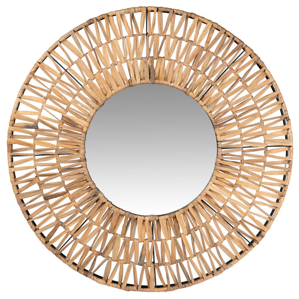 Runder Spiegel mit Rahmen aus Pflanzenfaser D80