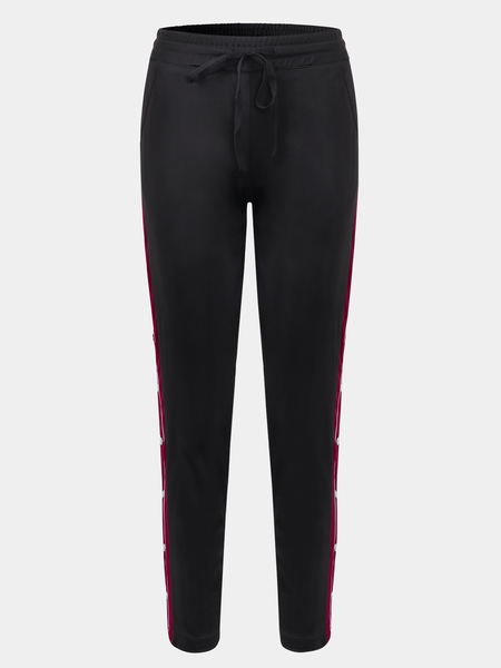 Yoins Active Stitching Side Button Design High Waisted Pants in Black