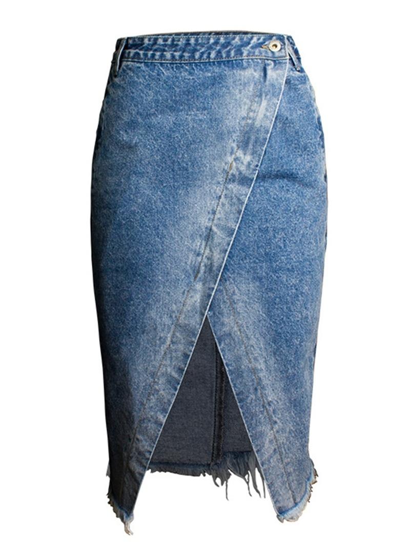 Ericdress Irregular Plain Button High-Waist Pocket Skirt