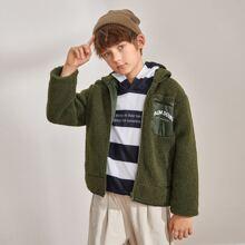 Boys Zip Up Letter Graphic Teddy Coat