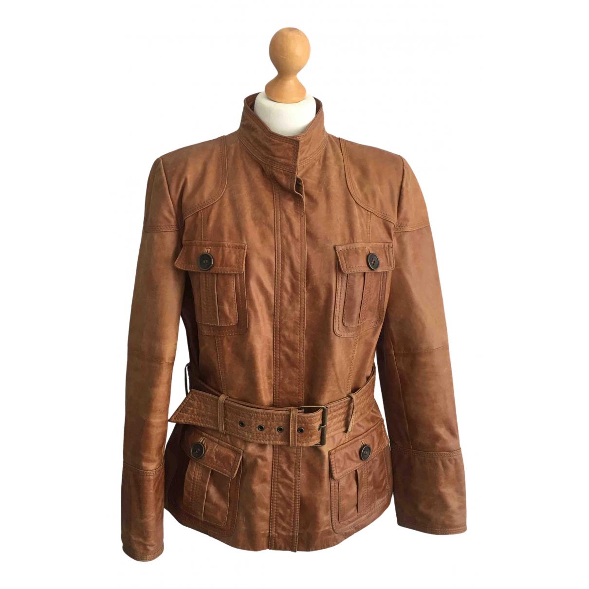 Zara - Veste   pour femme en cuir - marron