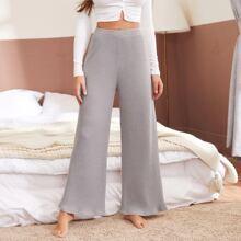 Rib-knit Wide Leg Lounge Pants