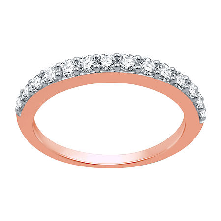 2MM 1/2 CT. T.W. Genuine White Diamond 10K Rose Gold Wedding Band, 5 , No Color Family