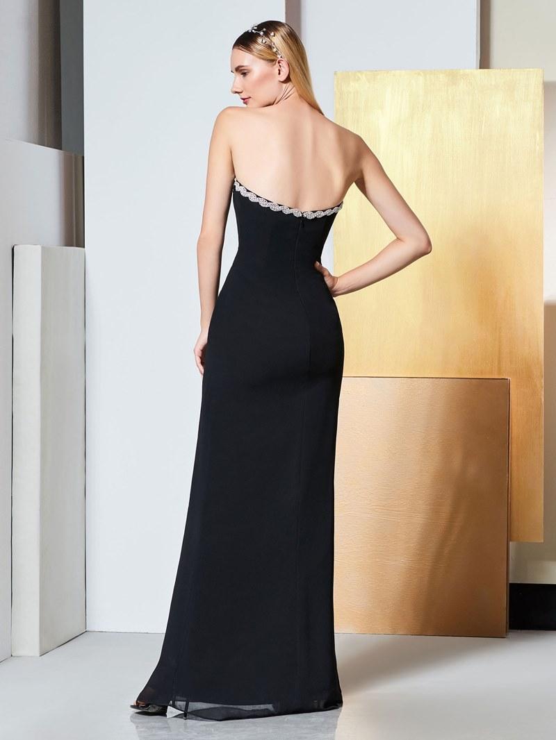 Ericdress Sheath Beaded Strapless Black Evening Dress