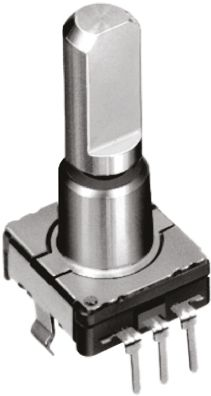 Alps Alpine 9 Pulse Incremental Mechanical Rotary Encoder with a 6 mm Flat Shaft (Not Indexed), Through Hole