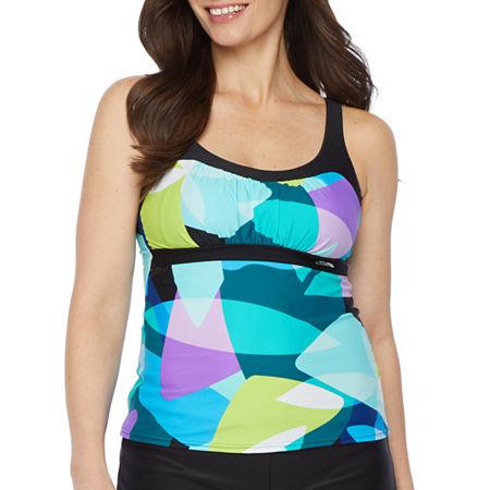 Zeroxposur Geometric Tankini Swimsuit Top, X-large , Blue
