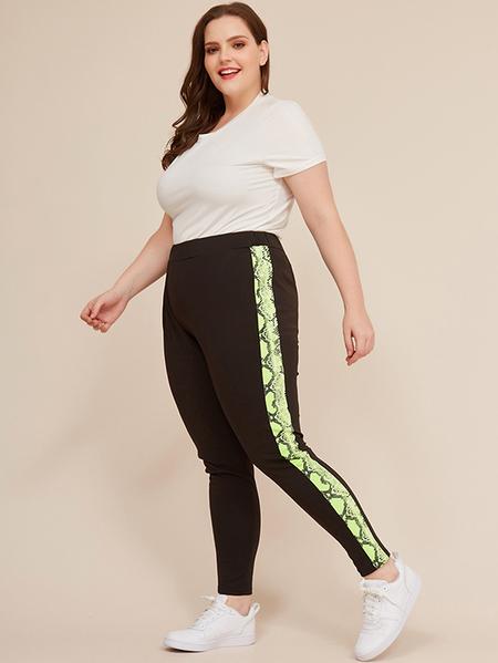Yoins Plus Size Black Elastic Strap Pants