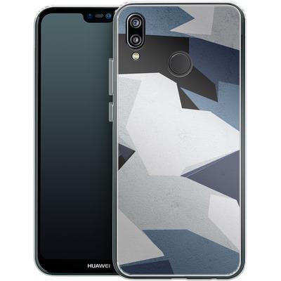 Huawei P20 Lite Silikon Handyhuelle - Geometric Camo Blue von caseable Designs