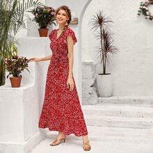 Kleid mit Muster und Raffung