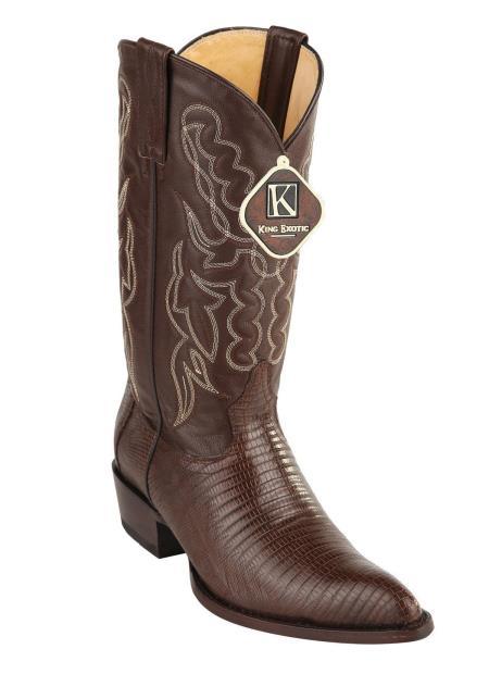 Men's King Teju Lizard Skin Print Western Brown Style Cowboy Boots